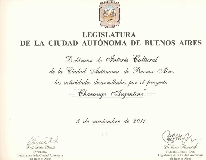 Declarado de Interés Cultural por la Legislatura de la Ciudad de Buenos Aires